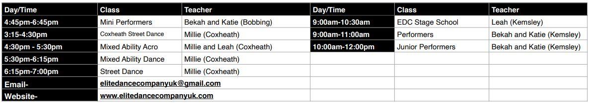 EDC Timetable 2020 Part 2